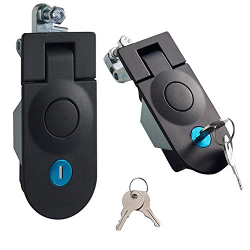 2PCS Powder Coated Zinc Alloy Sealed Large Lever Hand Operated Compression Latch Adjustable with a Key Lock, Black, for Cockpit Floor, Door, Cabinet,
