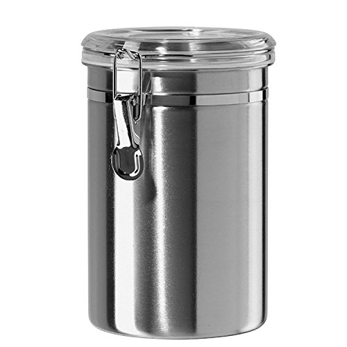 Stainless Steel Canisters for the Kitchen - Beautiful Airtight for Kitchen Counter, Medium 64 fl oz, Food Storage Container, Tea Coffee Sugar Flour Canisters by SilverOnyx - Medium 64oz - 1 Piece