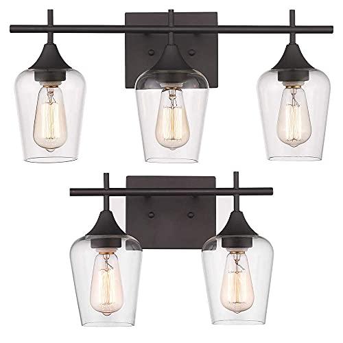 Osimir Bathroom Light Fixtures, Modern Farmhouse Bathroom Vanity Light Fixtures, Clear Glass Shade