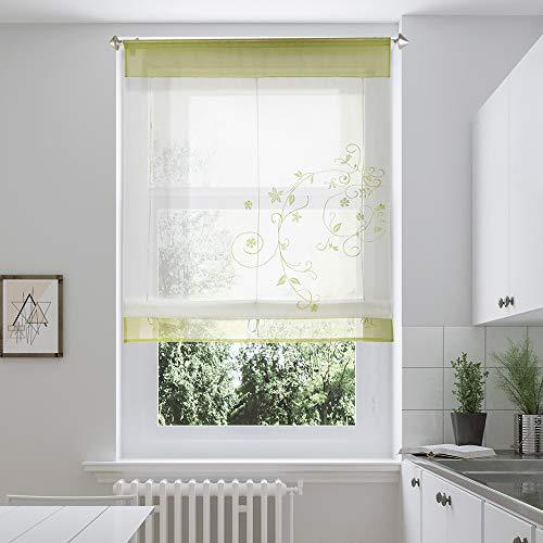 i@HOME Voile Raffrollo Raffgardinen mit Schlaufen Ösenrollo Fenster Vorhang Scheibengardinen für Fenster(Grün,100*140cm)