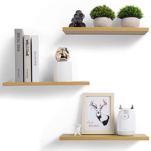 YOOKEA Wandregal, Schweberegal Holz 3er-Set Feuchtigkeitsbeständig und Robust, Wandboard Freischwebend, Moderne Dekorative Regalbrett für Wohnzimmer, Badezimmer, Schlafzimmer, Küche (40×15×1.7cm)