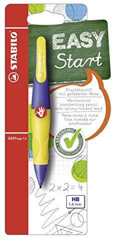 Ergonomischer Druck-Bleistift für Rechtshänder - STABILO EASYergo 1.4 in violett/neongelb - Einzelstift - inklusive 3 dünner Minen - Härtegrad HB