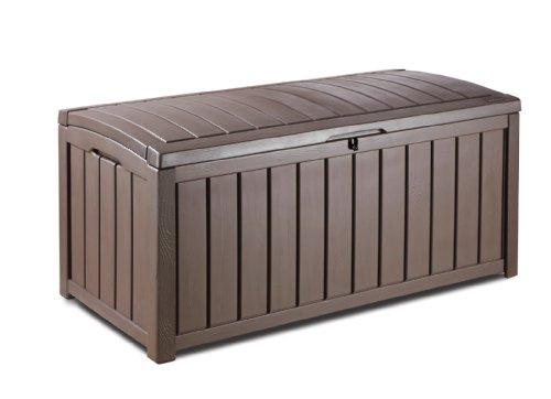 Keter Glenwood Plastic Deck Storage Container Box Outdoor Patio Furniture 101 Gal,...
