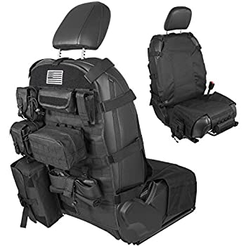 Danti Front Seat Cover Organizer Storage Muti-Compartments Holder Molle Pouches for Jeep Wrangler JK JL & Gladiator JT CJ YJ 1956-2021 Cherokee Patriot Nissan Ford Toyota and More