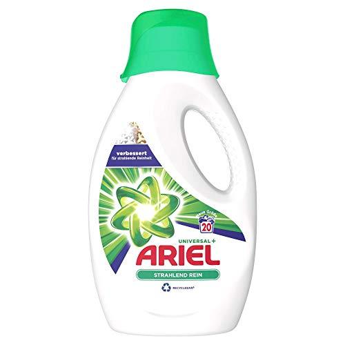 Ariel Waschmittel Flüssig, Flüssigwaschmittel, 20 Waschladungen, Universal Strahlend Rein, (1.1 L)