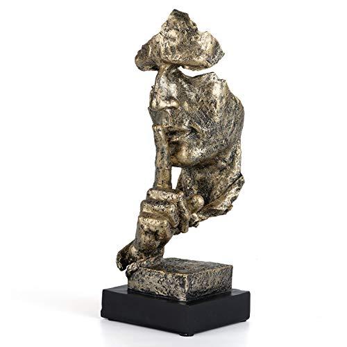 Gesicht Skulptur - Der Denker Statue - Schweigen ist Gold - Moderne Kunst Abstrakte und einfache Skulptur aus Polyresin Deko Figuren Schreibtischdekoration für Büro Wohnkultur, Golden