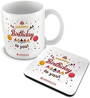 Jhingalala Happy Birthday to You Printed Mug with Coaster Combo Gift Pack   Birthday Gift for Sister, Birthday Gift for Gi...