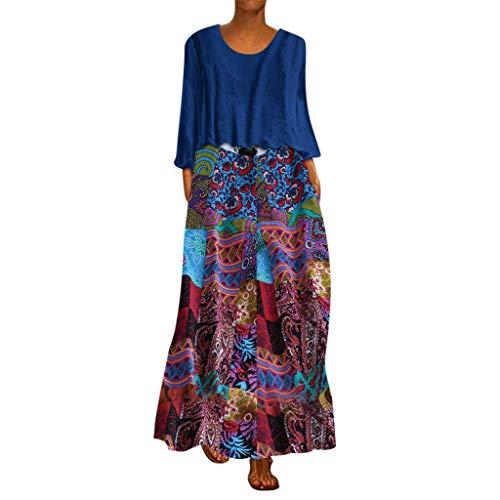 Xiangdanful Damen Sommerkleider Maxikleider Zweiteiliges Boho Strandkleid Vintage Lange Kleid Beachwear Oversize Langarmshirt Ethnomuster Gedruckt Freizeitkleid Casual Oberteil (L, Blau)
