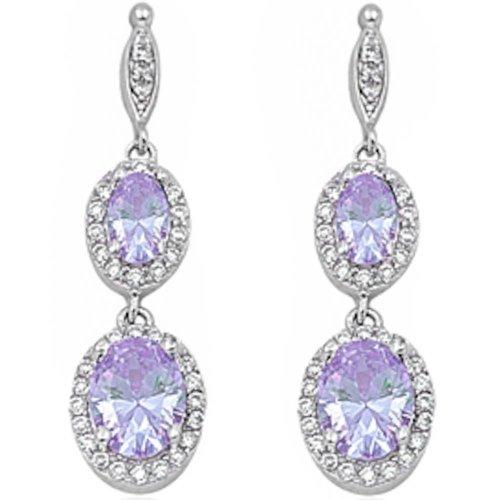 Dangle Simulated Gemstone & Cubic Zirconia .925 Sterling Silver Elegant Earrings 3.5' (Lavender Cubic Zirconia)