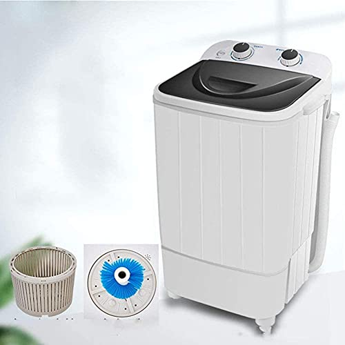 Pequeña lavadora semiautomática para uso doméstico - Lavadora de zapatos - Mini barril de deshidratación - Adecuado para apartamentos - residencias universitarias - Negro y negro