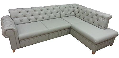 mb-moebel Ecksofa mit Schlaffunktion Eckcouch mit Bettkästen Soft Couch Wohnlandschaft L-Form Polsterecke Chesterfield Grey (Grau, Ecksofa Rechts)