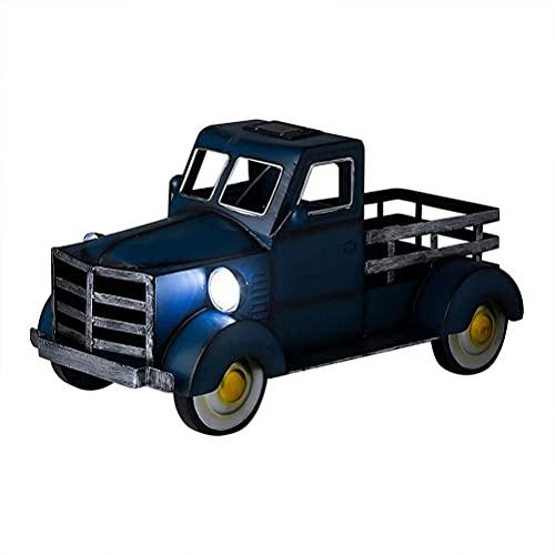 Adornos De Resina para Camiones Decoración Retro para Macetas De Camionetas Decoración De Macetas para Macetas para Mini Camiones con Luz para Jardín Exterior Interior, Azul