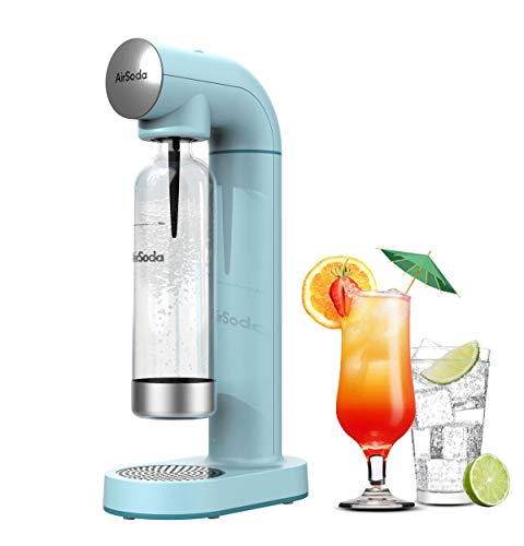 AirSoda Carbonator,Soda Maker,Sparkling water Maker,without 60 L Co2 Exchange Cylinder,With 900ml PET Bottle (Miami Blue)