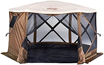 CLAM Quick-Set Escape Sky Camper 11.5 x 11.5 Ft Portable Pop-Up Outdoor Gazebo Screen Tent 6 Sided Canopy Shelter w/Ground Stakes & Carry Bag, Brown