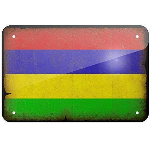 IUBBKI Metallschild Mauritius-Flagge im Vintage-Erscheinungsbild 19 x 30 cm