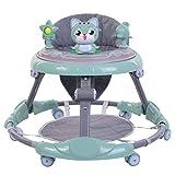 Andador de bebé con cojín para el pie, bandeja de música desmontable, altura ajustable, plegable, caminador de bebé con gatito juguete