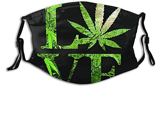 Love Marihuana Weed Leaf - Máscara facial negra con bolsillo de filtro, lavable, reutilizable, con 2 filtros