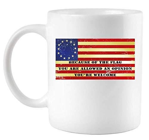 N\A Divertida Taza de café con Bandera de 13 colonias Original de Betsy Ross