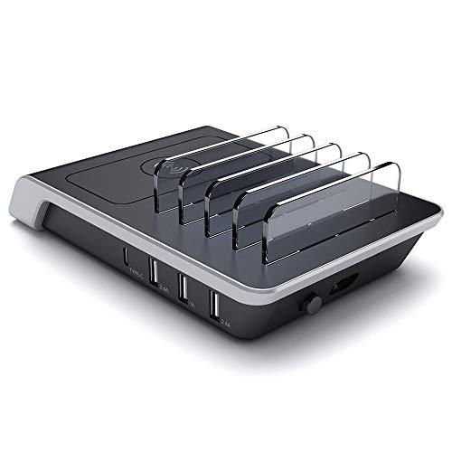 QI draadloze oplader Stand met 4USB poorten 5-in-1 Multiple Charger Dok Organizer voor Iphone X / 8/8 Plus voor Samsung
