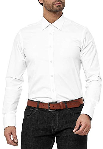Red Bridge Herren Hemd Basic Design Regular Modern Fit Langarm Bügelleicht Weiß XL