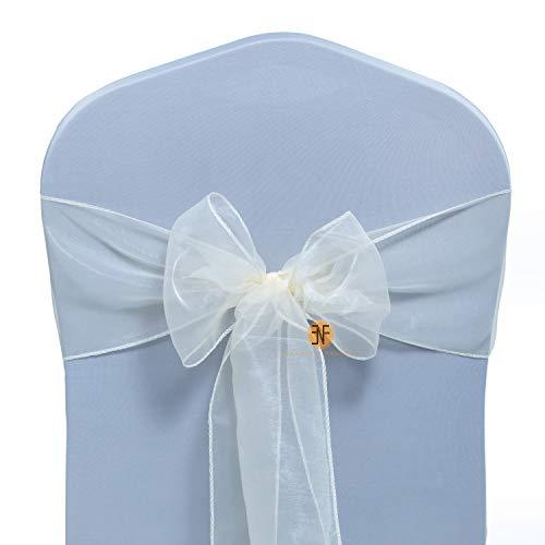 Paquete de 50 Silla Organza Completo Lazo Bandas - Semi-Transparente Tela Cubiertas con Minimal Sheen - Adecuado para Banquetes Bodas,Recepciones,Celebraciones, y Eventos | Marfil