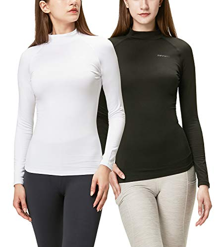 DEVOPS Women's 2 Pack Thermal Turtle Long Sleeve Shirts Compression Baselayer Tops (Small, Black/White)