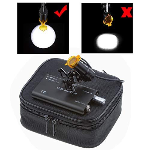 TopSeller歯科 ヘッドライト クリップ式LEDヘッドライト 5W 強力タイプ 精度高い 普通メガネ用 充電式 クリップクランプ サージカルルーペ用 フィルター付き 装着便利 収納ボックス付き (黒)