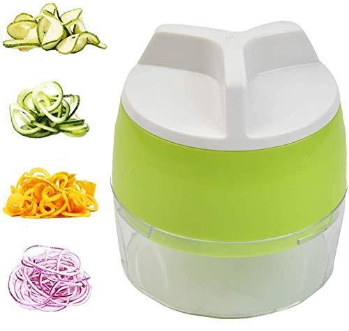WOWOSS 4 in 1 Spiralizer Handgemüsespiralizer Spiralschneider Hand Gemüseschneider Gemüsehobel Chopper Spaghetti Maker für Karotte, Gurke, Kartoffel,Kürbis, Zucchini, Zwiebel, Gemüsespaghetti