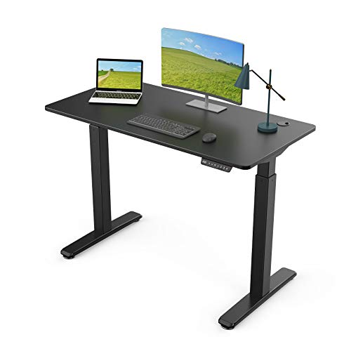 Eureka Ergonomic 48 inch Electric Height Adjustable Computer Standing Sit to Stand Desk for Home Office, Black