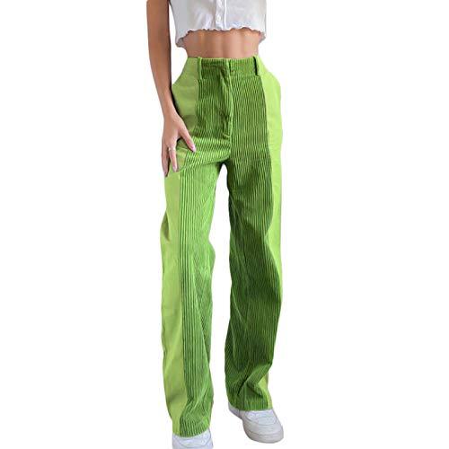 Donna Jeans a Vita Alta Pantaloni Baggy con Stampa a Cuore Farfalla Pantaloni a Gamba Larga Casual Pantaloni in Velluto a Coste Moda Patchwork Y2k Jeans in Denim