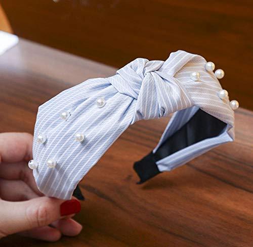 sufengshop Plaid Noué Perle Bandeaux Perles Incrusté Bandeaux De Cheveux Bandes De Cheveux Élégant Large Cerceaux De Cheveux Lunette pour Femmes Accessoires De Cheveux