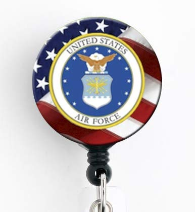 Air Force Insignia with American Flag - Retractable Badge Reel with Swivel Clip and Extra-Long 34 inch Cord - Badge Holder/Military/Air Force/Nurse Badge