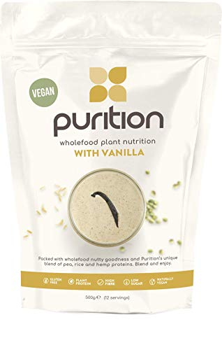Purition Vegan Vanilla Dairy Free Natural Protein Powder for Keto Diet Shakes and Meal Replacements Shakes, 1 Bag (12 Serving)…
