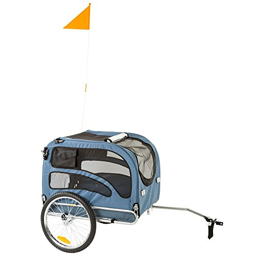 Blue 2-in-1 Pull-Behind Dog Bike Carrier Bicycle Pet Trailer