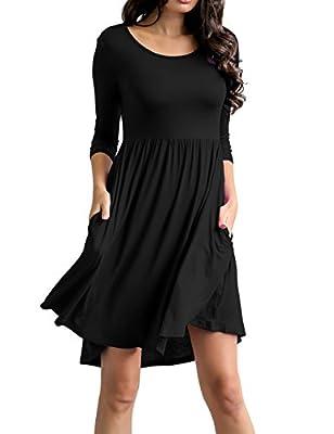 Traleubie Women's Plain 3/4 Sleeve Pockets Pleated Loose Swing Casual Mini Dress