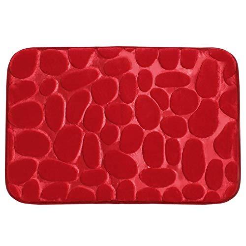 YeVhear Alfombra de baño de franela de tela de espuma con memoria de forma, relleno lavable, antideslizante, para cuarto de baño, cocina, zapatero, color rojo