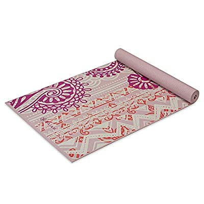 Gaiam Yoga Mat Classic Print Non Slip Exercise & Fitness Mat for All Types of Yoga, Pilates & Floor Workouts, Bohemian Rose, 4mm