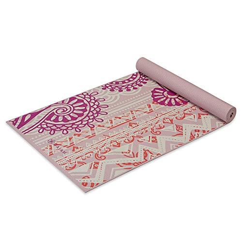 Gaiam Esterilla de yoga con impresión clásica, antideslizante, para todos los tipos de yoga, pilates y ejercicios de suelo, rosa bohemia, 4 mm