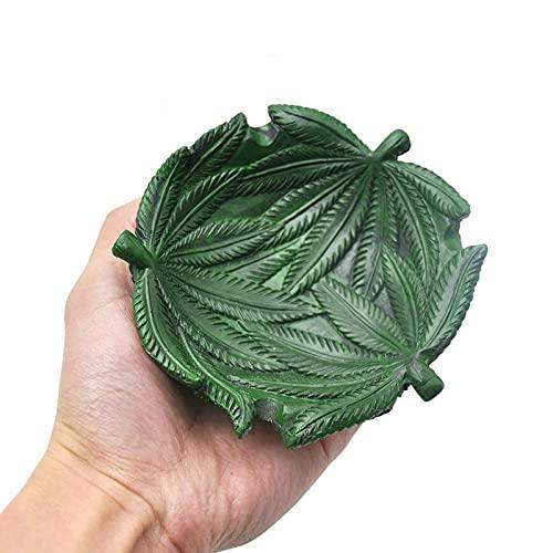 Cenicero de resina verde oscuro patrón de hojas cenicero hogar oficina personalizada artesanía fumar accesorios para hombres regalo