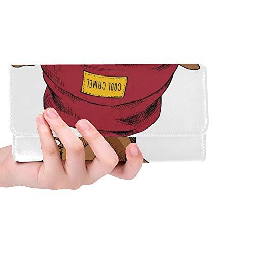 Einzigartige benutzerdefinierte Kamel porträt Brille Hipster Hut Frauen Trifold Wallet Lange geldbörse kreditkarteninhaber case Handtasche