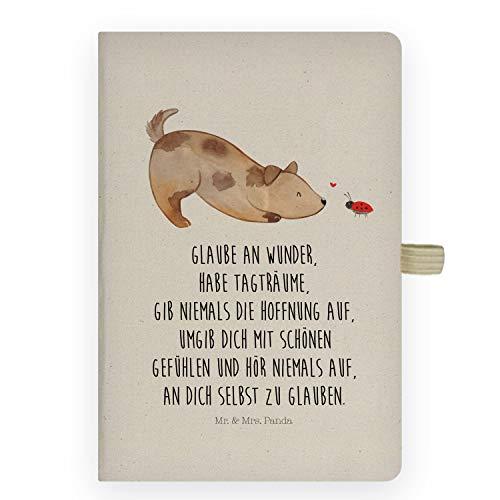Mr. & Mrs. Panda Kladde, Notizheft, DIN A5 Baumwoll Notizbuch Hund Marienkäfer mit Spruch - Farbe Transparent