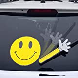WiperTags Have a Nice Day Smiley Face Waving with Decal attaches to Rear Vehicle Wiper