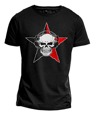 T-Shirt - Anarcho Skull - Anarchy, Punk, Totenkopf, Stern - schwarz (L)