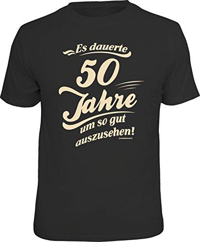 RAHMENLOS Original Geschenk T-Shirt zum 50. Geburtstag: Es dauerte 50 Jahre um so gut auszusehen! Schwarz - Größe XXL