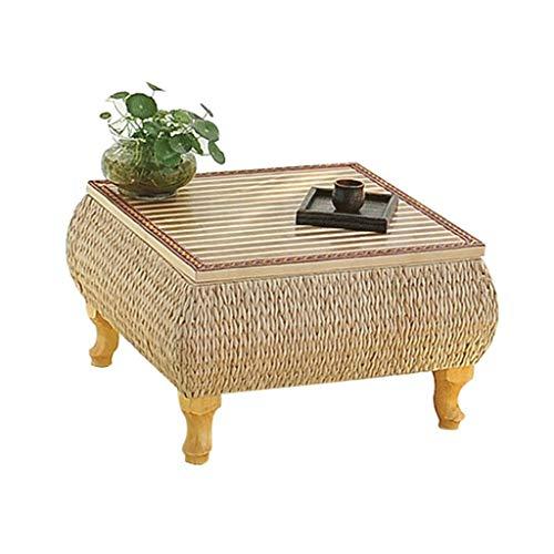 Gartenmöbel & Zubehör Tische Couchtisch Wohnzimmer Bambus Tisch Bett Computertisch kreatives Stroh Teetisch Schlafzimmer Wohnzimmer Balkon, handgefertigt (Color : Wood, Size : 36 * 36 * 30cm)