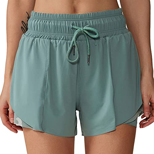 ZZAL 2 en 1 Short Deportivo Shorts de Running 2 en 1 para Mujer Pantalones Sueltos de Yoga Fitness Deportivos Pijama de Horquilla con Abertura Lateral de Cintura con Cordón(Size:L,Color:Style1)