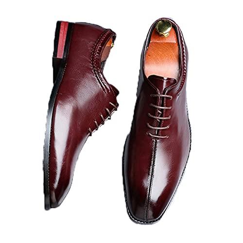 Zapatos Formales para Hombre Zapatos Oxford con Cordones Vintage de Color sólido Fondo Suave Antideslizante Corte bajo Punta Puntiaguda Traje Formal Zapatos de Cuero