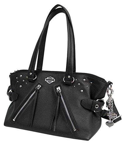 Harley-Davidson Women's Studded Rider Leather Satchel Purse, Black RD4918L-BLK