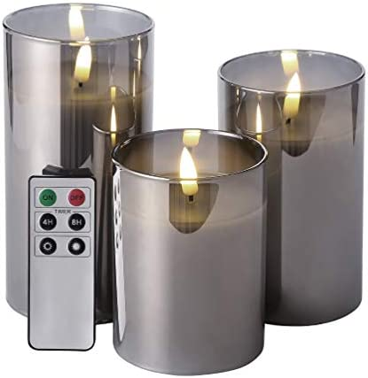 Eywamage Glass Flameless Candles with Remote Battery Operated Flickering LED Pillar Candles product image