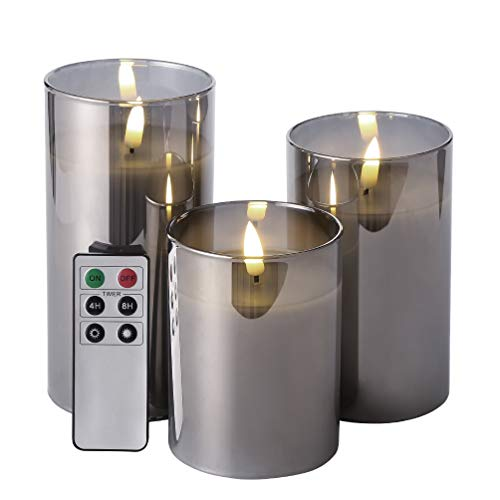 Eywamage Glass Flameless Candles with Remote Battery Operated Flickering LED Pillar Candles Real Wax Wick 3 Pack D 3' H 4' 5' 6' Gray